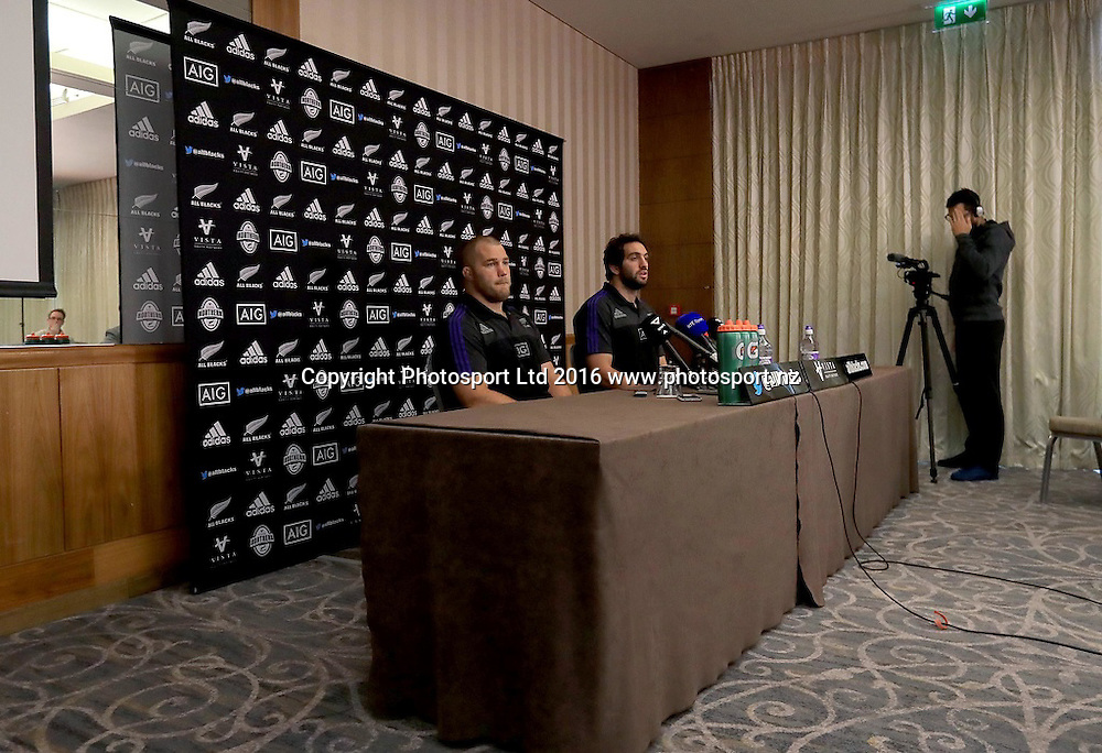 New Zealand Rugby Press Conference, Castleknock Hotel, Dublin 14/11/2016<br /> Owen Franks and Sam Whitelock<br /> Mandatory Credit &copy;INPHO/Donall Farmer