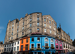 Colourful shop fronts on Victoria Street in  historic Old town of Edinburgh, Scotland, UK