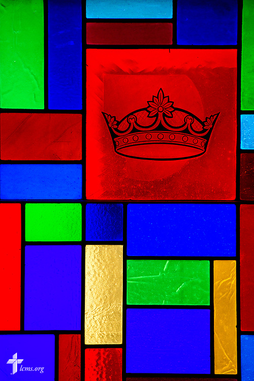 Stained glass depicting the crown at Zion Lutheran Church, Worms, Neb., on Saturday, Sept. 23, 2017. LCMS Communications/Erik M. Lunsford