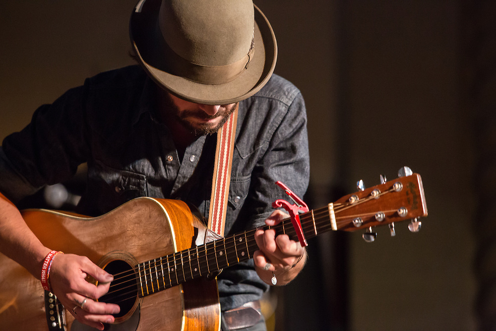Singer-songwriter Langhorne Slim performs at the Folk City benefit concert. The concert was held to support a forthcoming exhibit on the folk msusic revival in New York in the 1950s and 60s.