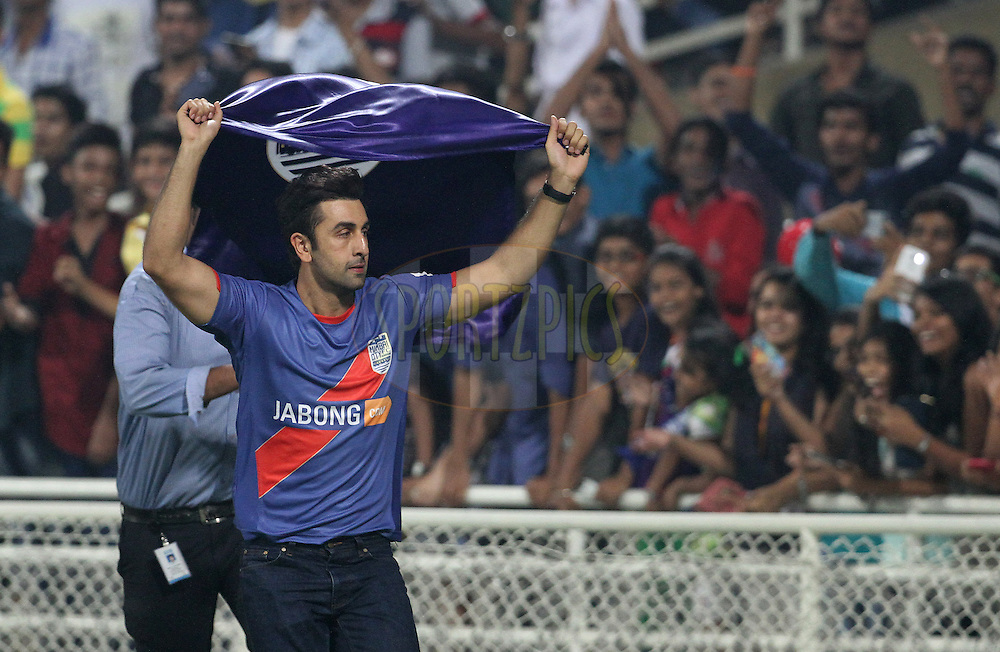 Bollywood actor and co owner Mumbai City FC Ranbir Kapoor after winning the match 22 of the Hero Indian Super League between Mumbai City FC and Delhi Dynamos FC City held at the D.Y. Patil Stadium, Navi Mumbai, India on the 5th November.<br /> <br /> Photo by:  Vipin Pawar/ ISL/ SPORTZPICS