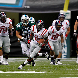 Sep 11, 2010; New Orleans, LA, USA; Mississippi Rebels wide receiver Jesse Grandy (10) runs after a catch during a game against the Tulane Green Wave at the Louisiana Superdome. The Mississippi Rebels defeated the Tulane Green Wave 27-13.  Mandatory Credit: Derick E. Hingle
