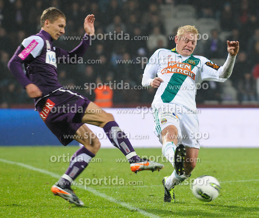 23.10.2011, Generali Arena, Wien, AUT, 1. FBL, Wiener Derby FK Austria Wien vs SK Rapid Wien, im Bild Zweikampf zwischen Florian Klein, (FK Austria Wien, #7) und Thomas Prager, (SK Rapid Wien, #23) // during the vienna derby FK Austria Wien vs SK Rapid Wien, Generali Arena, Vienna, 2011-10-23, EXPA Pictures © 2011, PhotoCredit: EXPA/ M. Gruber