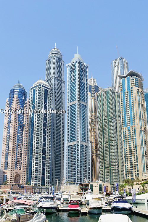 Skyline of skyscrapers in Marina district of Dubai United Arab Emirates