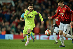 MANCHESTER, ENGLAND - Thursday, April 11, 2019: Barcelona's captain Lionel Messi during the UEFA Champions League Quarter-Final 1st Leg match between Manchester United FC and FC Barcelona at Old Trafford. Barcelona won 1-0. (Pic by David Rawcliffe/Propaganda)
