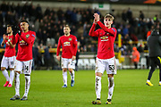 Manchester United thank the away fans during the Europa League match between Club Brugge and Manchester United at Jan Breydel Stadion, Brugge, Belguim on 20 February 2020.
