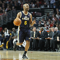 10 March 2012: Utah Jazz point guard Jamaal Tinsley (6) brings the ball upcourt during the Chicago Bulls 111-97 victory over the Utah Jazz at the United Center, Chicago, Illinois, USA.