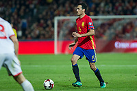 Spain's Sergio Busquets  during the match of European qualifying round between Spain and Macedonia at Nuevo Los Carmenes Stadium in Granada, Spain. November 12, 2016. (ALTERPHOTOS/Rodrigo Jimenez)