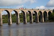 Train railway viaduct crossing River Tweed, Berwick-upon-Tweed, Northumberland, England, UK