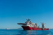 Boa Sub C Multi purpose Offshore Vessel anchored outside of Cape Town Harbour