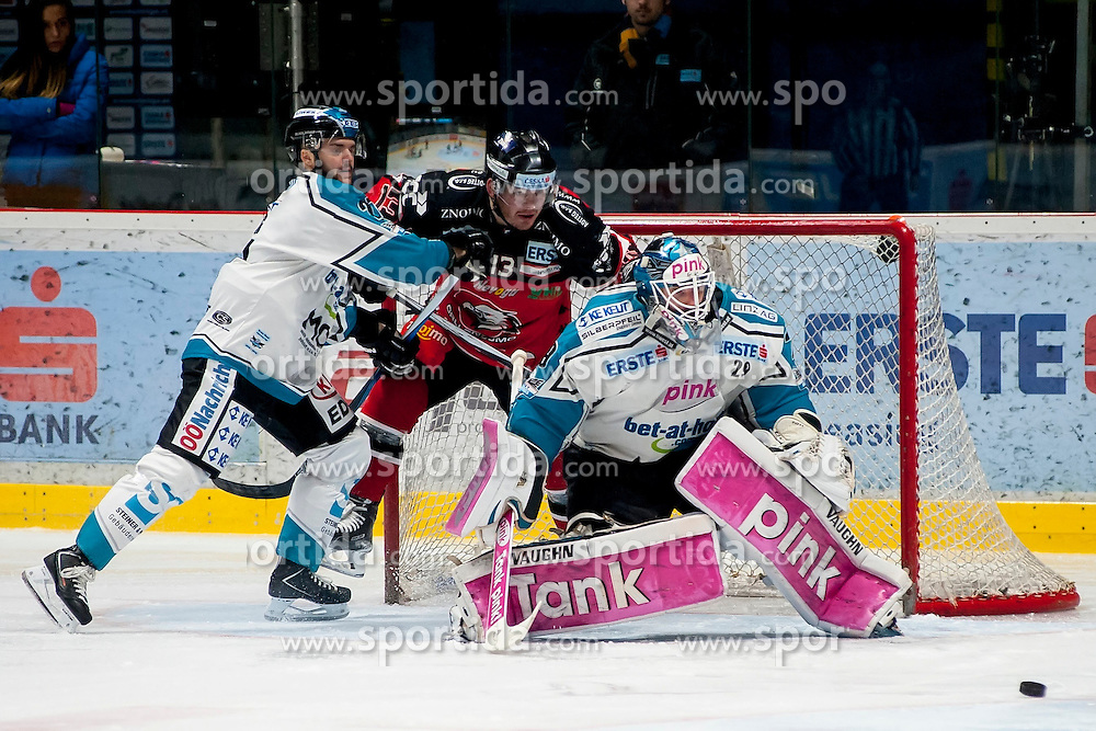 13.03.2016, Ice Rink, Znojmo, CZE, EBEL, HC Orli Znojmo vs EHC Liwest Black Wings Linz, Halbfinale, 1. Spiel, im Bild v.l. Bernhard Fechtig (Linz ) Colton Yellow Horn (HC Orli Znojmo), Michael Ouzas (Linz ) // during the Erste Bank Icehockey League 1st semifinal match between HC Orli Znojmo and EHC Liwest Black Wings Linz at the Ice Rink in Znojmo, Czech Republic on 2016/03/13. EXPA Pictures © 2016, PhotoCredit: EXPA/ Rostislav Pfeffer