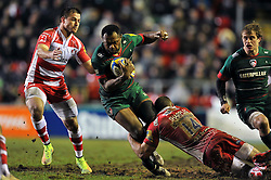 Vereniki Goneva of Leicester Tigers is tackled in possession - Photo mandatory by-line: Patrick Khachfe/JMP - Mobile: 07966 386802 13/02/2015 - SPORT - RUGBY UNION - Leicester - Welford Road - Leicester Tigers v Gloucester Rugby - Aviva Premiership