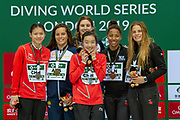 Women's Syncronised 3m dive podium presentation with Anabelle Smith of Australia and Maddison Keeney of Australia with their Gold Medals, Luxian Wu of China and Zongyuan Wang of China with their Silver Medals, and Jennifer Abel of Canada and Melissa Citrini-Beaulieu of Canada with their Bronze Medals during the FINA/CNSG Diving World Series 2019 at London Aquatics Centre, London, United Kingdom on 17 May 2019.