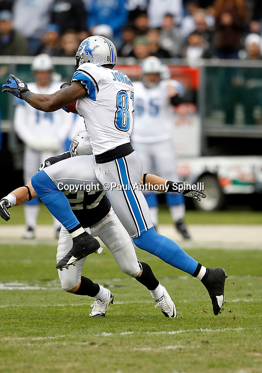 Detroit Lions wide receiver Calvin Johnson (81) high steps in the air as he catches a 24 yard pass good for a first down at mid-field in the second quarter of the NFL week 15 football game against the Oakland Raiders on Sunday, December 18, 2011 in Oakland, California. The Lions won the game 28-27. ©Paul Anthony Spinelli