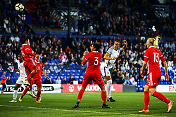 Lucy Bronze of England fires a header at goal  - Mandatory by-line: Matt McNulty/JMP - 19/09/2017 - FOOTBALL - Prenton Park - Birkenhead, United Kingdom - England v Russia - FIFA Women's World Cup Qualifier