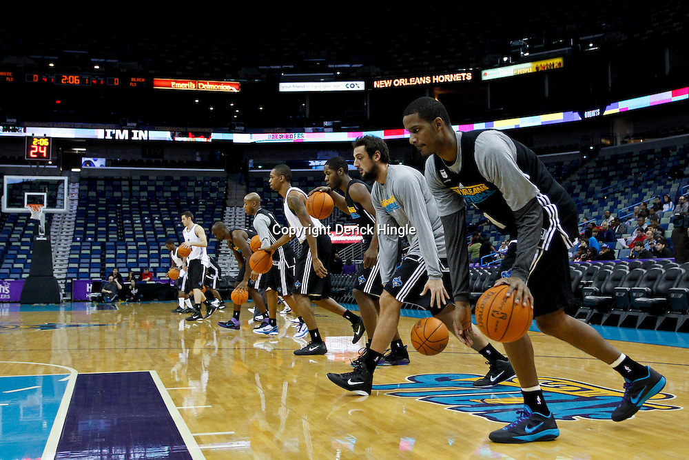 December 17, 2011; New Orleans, LA, USA; New Orleans Hornets small forward Trevor Ariza (1) and teammates work out prior to a scrimmage at the New Orleans Arena.   Mandatory Credit: Derick E. Hingle-US PRESSWIRE