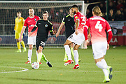 Macclesfield Town defender David Fitzpatrick in possession of the ball during the EFL Sky Bet League 2 match between Salford City and Macclesfield Town at the Peninsula Stadium, Salford, United Kingdom on 23 November 2019.