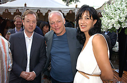 Left to right, GEORDIE GREIG, DAVID GILMOUR and his wife POLLY SAMPSON at the Tatler Summer Party 2006 in association with Fendi held at Home House, Portman Square, London W1 on 29th June 2006.<br />