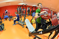 Behind the scenes, gym training, at 2018 World Para Alpine Skiing World Cup, Tignes, France