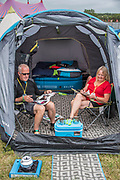 One couple is well settled in with double bed and door mat for their tent - The 2017 Glastonbury Festival, Worthy Farm. Glastonbury, 2 June 2017