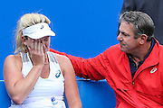 CoCo Vandeweghe breaks down in tears whilst talking to her coach during the Aegon Classic at Edgbaston Priory Club, Birmingham, United Kingdom on 18 June 2016. Photo by Shane Healey.