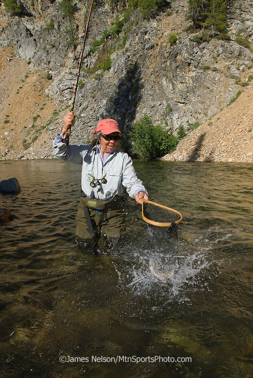 An angler brings a westslope cutthroat trout to the net on Marsh Creek, Idaho.