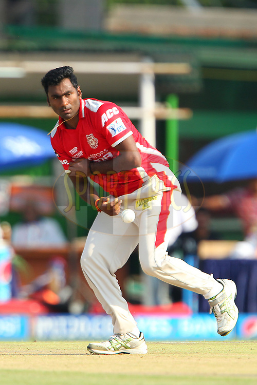 Parvinder Awana of the Kings X1 Punjab during the first qualifier match (QF1) of the Pepsi Indian Premier League Season 2014 between the Kings XI Punjab and the Kolkata Knight Riders held at the Eden Gardens Cricket Stadium, Kolkata, India on the 28th May  2014<br /> <br /> Photo by Ron Gaunt / IPL / SPORTZPICS<br /> <br /> <br /> <br /> Image use subject to terms and conditions which can be found here:  http://sportzpics.photoshelter.com/gallery/Pepsi-IPL-Image-terms-and-conditions/G00004VW1IVJ.gB0/C0000TScjhBM6ikg