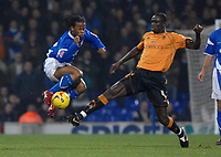 Photo: Ashley Pickering.<br /> Ipswich Town v Wolverhampton Wanderers. Coca Cola Championship. 20/02/2007.<br /> Jaime Peters of Ipswich (L) and Seyi Olofinjana of Wolves