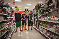 "Brothers and Ben and Tommy McPhee with friend, Jimmy, test out the athletic equipent at the Target store in Santa Rosa, California.  ""Yes, its an enless suppy of athletic equipment for these guys.""  -Michelle McPhee  mlv_mcphee@yahoo.com"
