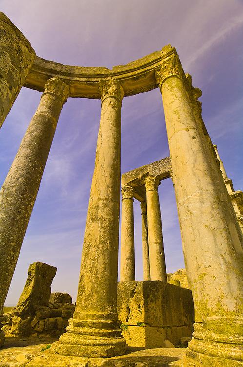 Roman archeological ruins, columns of the theater, Dougga, Tunisia