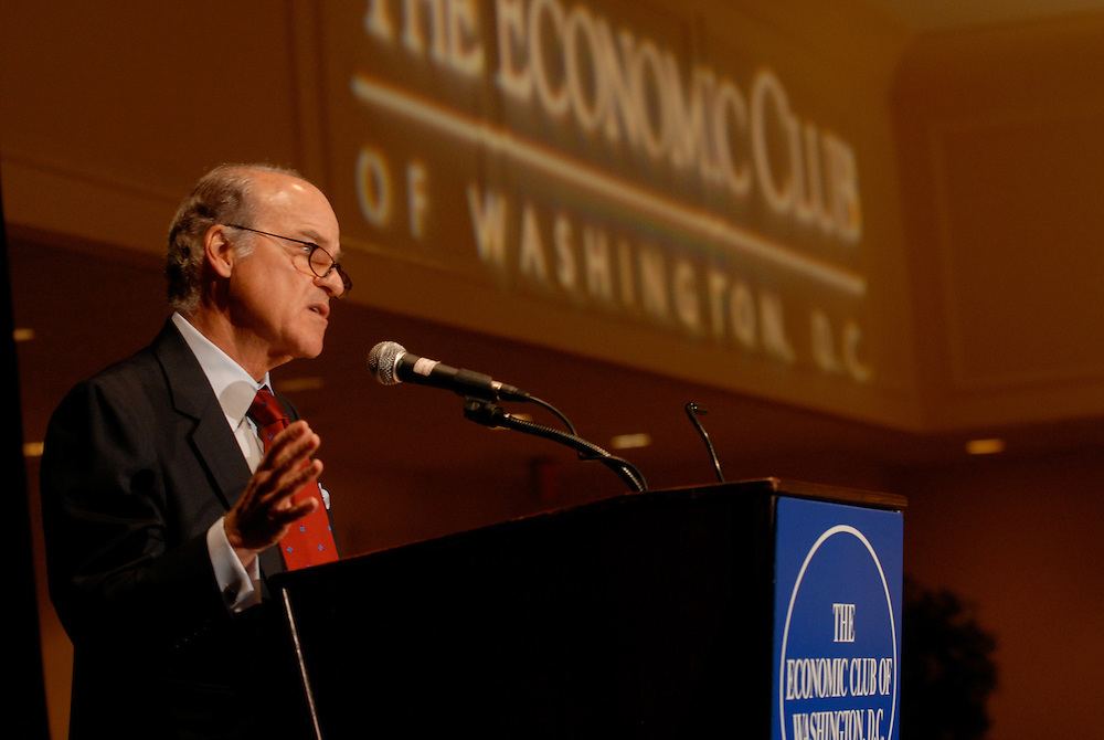 Henry Kravis - co-founder of  Kohlberg Kravis Roberts & Co., addresses the members of the Economic Club of Washington at the Renaissance Hotel in Washington DC