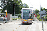 The Luas tram in Dundrum station, Dundrum in Dublin Ireland