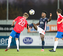 Cowdenbeath's Kyle Miller and Falkirk's Botti Biabi.<br /> Falkirk 1 v 0 Cowdenbeath, William Hill Scottish Cup game played 29/11/2014 at The Falkirk Stadium.