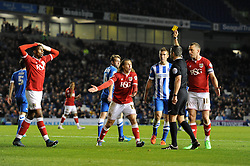 Luke Freeman of Bristol City is shown a yellow card for diving - Mandatory byline: Dougie Allward/JMP - 07966 386802 - 20/10/2015 - FOOTBALL - American Express Community Stadium - Brighton, England - Brighton v Bristol City - Sky Bet Championship