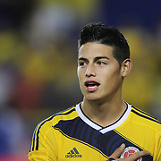 James Rodriguez, Colombia, singing the National Anthem during the Colombia Vs Canada friendly international football match at Red Bull Arena, Harrison, New Jersey. USA. 14th October 2014. Photo Tim Clayton