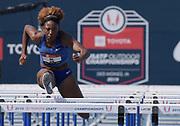 Jul 26, 2019; Des Moines, IA, USA; Nia Ali wins women's 100m hurdles heat in 12.92 during the USATF Championships at Drake Stadium.