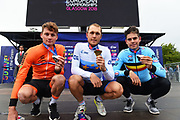 Podium Men Road Race 230,4 km, Mathieu Van der Poel (Netherlands) silver medal, Matteo Trentin (Italy ITA) gold medal, Wout Van Aert (Belgium BEL) bronze medal, during the Cycling European Championships Glasgow 2018, in Glasgow City Centre and metropolitan areas, Great Britain, Day 11, on August 12, 2018 - Photo Dario Belingheri / BettiniPhoto / ProSportsImages / DPPI - Belgium out, Spain out, Italy out, Netherlands out -