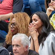 2019 US Open Tennis Tournament- Day Thirteen.    Meghan Markle, Duchess of Sussex reacts next to Oracene Price, mother of Serena Williams in the the team box as Serena Williams of the United States arrives on court for her match against Bianca Andreescu of Canada in the Women's Singles Final on Arthur Ashe Stadium during the 2019 US Open Tennis Tournament at the USTA Billie Jean King National Tennis Center on September 7th, 2019 in Flushing, Queens, New York City.  (Photo by Tim Clayton/Corbis via Getty Images)
