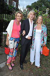 Left to right, SANDY FORSYTH, HARRY GRENFELL and his mother VISCOUNTESS GORMANSTON at a Summer party hosted by Lady Annabel Goldsmith at her home Ormeley Lodge, Ham, Surrey on 14th July 2009.