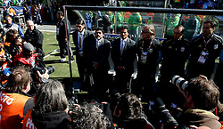 An army of Photographers surround Argentina's Head coach /Manager ,Diego Maradona as he stands for the National anthem, Argentina v Korea Republic, FIFA World Cup 2010 Group B, Soccer City Stadium, Johannesburg, South Africa, Date 17062010 Picture by Marc Atkins Mobile +27 8200 97621 (IPS PHOTO AGENCY) - 21 Delisle road - London SE28 0JD- tel: 020 88 55 1 008 - fax: 020 88 55 1037 - ISDN: 020 88 55 1039. / SPORTIDA PHOTO AGENCY