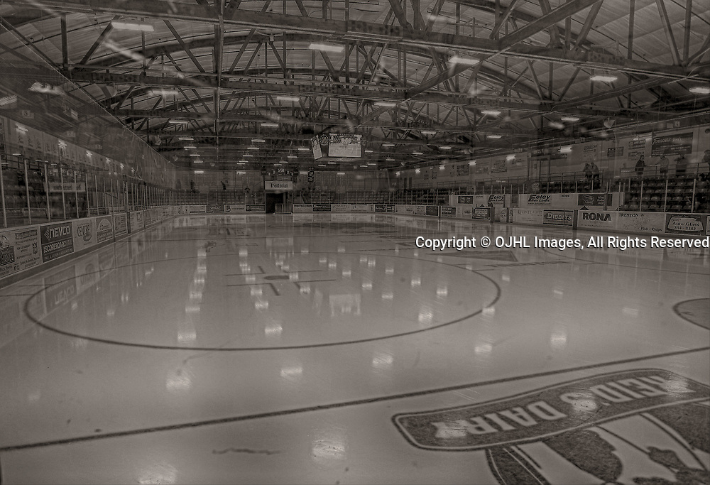 TRENTON, ON  - MAY 5,  2017: Canadian Junior Hockey League, Central Canadian Jr. &quot;A&quot; Championship. The Dudley Hewitt Cup. Game 7 between Georgetown Raiders and the Powassan Voodoos. The Duncan McDonald Memorial Gardens.<br /> (Photo by Tim Bates / OJHL Images)