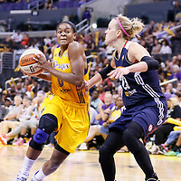 03 August 2014: Los Angeles Sparks guard/forward Alana Beard (0) drives past Connecticut Sun guard/forward Katie Douglas (23) during the Los Angeles Sparks 70-69 victory over the Connecticut Sun, at the Staples Center, Los Angeles, California, USA.
