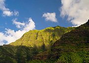 View of the stunning Na Pali Coast on the western side of Kauai, Hawaii, USA.