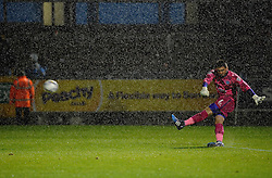 Matt Ingram of Wycombe Wanderers clears the ball during the rainstorm - Mandatory byline: Neil Brookman/JMP - 07966 386802 - 06/10/2015 - FOOTBALL - Memorial Stadium - Bristol, England - Bristol Rovers v Wycombe Wanderers - JPT Trophy