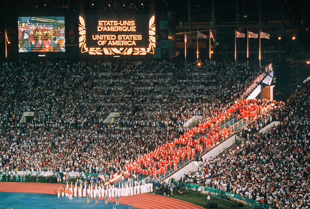 ATLANTA - JULY 19:  The team for the United States enters the stadium during the Opening Ceremony of the 1996 Olympic Games on July 19, 1996 in Centennial Olympic Stadium in Atlanta, Georgia.  (Photo by David Madison/Getty Images)