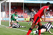 Notts County goalkeeper Adam Collin (1) claims the ball at his near post during the EFL Sky Bet League 2 match between Crawley Town and Notts County at the Checkatrade.com Stadium, Crawley, England on 27 August 2016. Photo by Andy Walter.