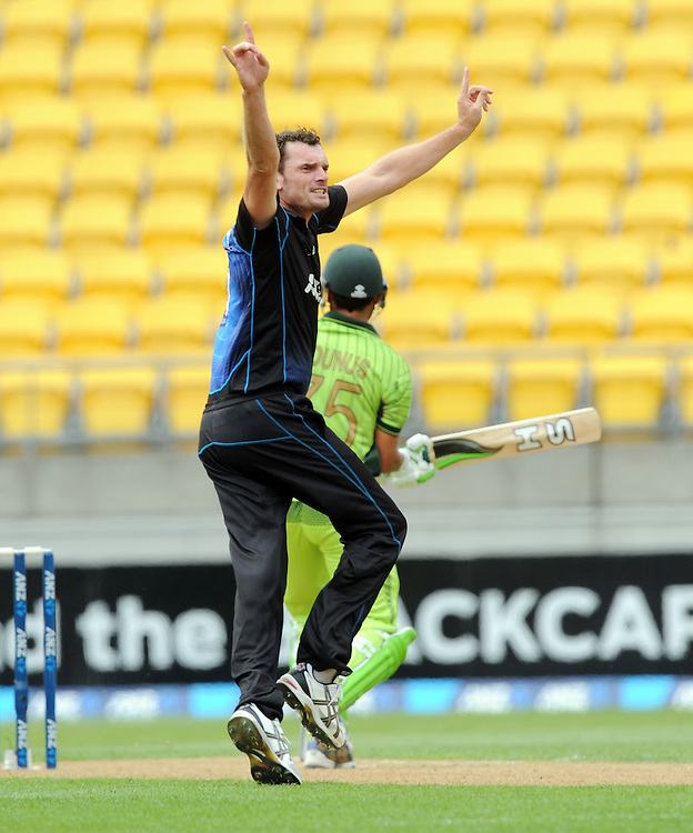 New Zealand's Kyle Mills claims the wicket of Pakistan's Younis Khan lbw for 9 in the 1st One Day International cricket match at Westpac Stadium, New Zealand, Sunday, January 31, 2015. Credit:SNPA / Ross Setford