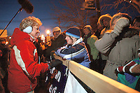 Michigan governor Jennifer Granholm visits the start of the 2005 UP 200 Sled Dog Race, downtown Marquette, Michigan