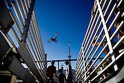 A motorcycle stunt rider performs at the California State Fair on September 3, 2007.
