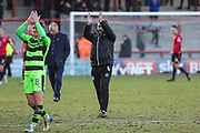Forest Green Rovers assistant manager, Scott Lindsey claps the travelling supporters during the EFL Sky Bet League 2 match between Morecambe and Forest Green Rovers at the Globe Arena, Morecambe, England on 17 February 2018. Picture by Shane Healey.